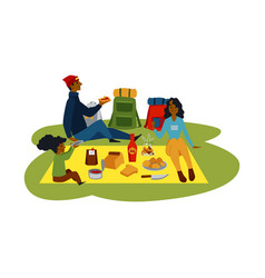 outdoor summer picnic cartoon african family vector image