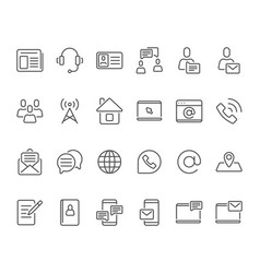 outline contacts icons mobile phone contact icon vector image