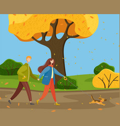 people walk dog on leash autumn park or vector image