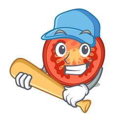 Playing baseball character tomato slices for food vector