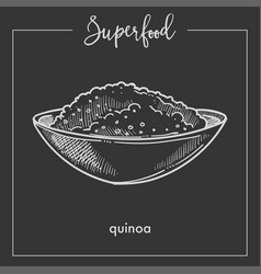 Quinoa cereal in deep bowl monochrome superfood vector