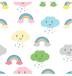 rainbow with cute face cloud seamless pattern vector image