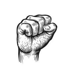 raised fist on white background graphic vector image
