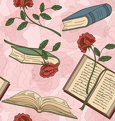 Seamless pattern of books and flowers vector