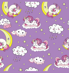 Seamless pattern with dreaming baby unicorns vector