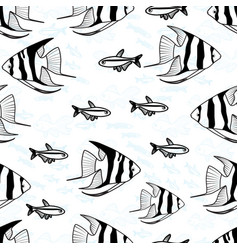 Seamless pattern with fish silhouettes vector