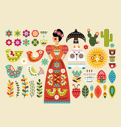 Set mexican folk elements in flat design vector