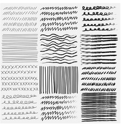 set of line grunge hand drawn textures vector image