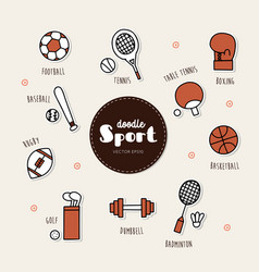 set of sport icons doodle vector image