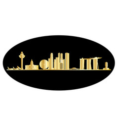 singapore city skyine gold vector image