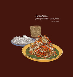Som-tum set rice noodle and sticky rice hand vector