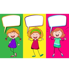 Speech bubble design with three girls vector