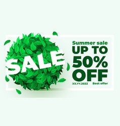 summer or spring sale background with fresh green vector image