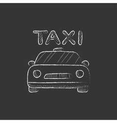 Taxi Drawn in chalk icon vector