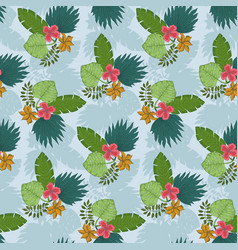 tender blue pattern with tropical leaves bouquets vector image