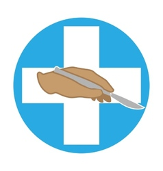 The hand holds a scalpel vector image