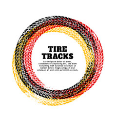 Tire track circle frame background vector