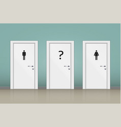 Toilets wc with three gender sign vector