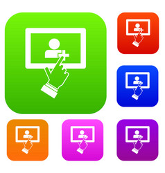 touch screen tablet click set collection vector image