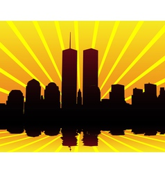 twin towers silhouettes vector image