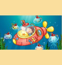 Underwater scene with happy kids in submarine vector