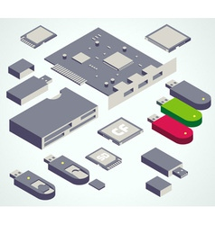 usb element memory card set vector image