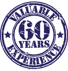 Valuable 60 years of experience rubber stamp vect vector image