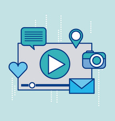 video player and social media icons around design vector image