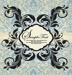 vintage blue damask invitation vector image
