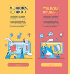 Web development vertical banners set with people vector