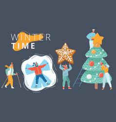 winter people set vector image