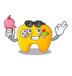with ice cream video game controller shaped on vector image