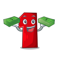 with money cartoon the number one for champion vector image