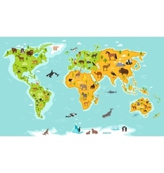 World map with wildlife animals and plants vector