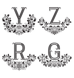 y z r g vintage monograms in floral wreaths vector image