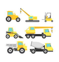 cartoon construction machinery color icons set vector image