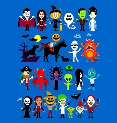 Monsters mash halloween characters vector