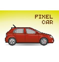 Red pixel car vector image