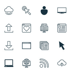 set of 16 internet icons includes human cursor vector image