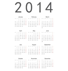 Simple calendar 2014 vector image vector image
