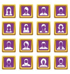 avatars set icons set purple vector image vector image