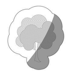 contour sticker natural tree icon vector image