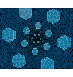 Flying hexagons over the grid vector image vector image