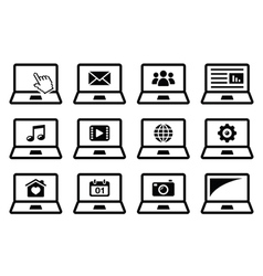Laptop black icons set vector image vector image