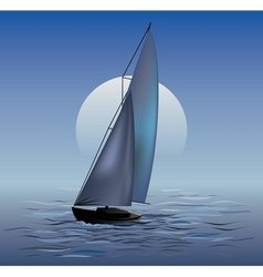 Sailing boat in moonrise vector