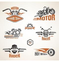 Set of vintage motorcycle labels badges and design vector image vector image