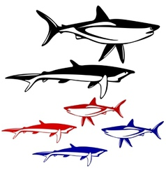 Set shark black and white outline vector image vector image