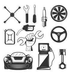 vintage car service icons symbols set vector image