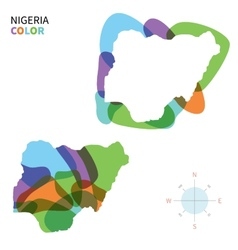 Abstract color map of nigeria vector