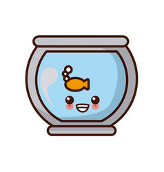 fish in bowl kawaii cute cartoon vector image